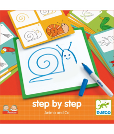 Djeco Step by Step tekenkaarten  Dieren