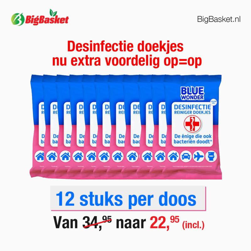 Blue Wonder Desinfectie Reiniger Doekjes Voordeelverpakking - 12 x 20 doekjes