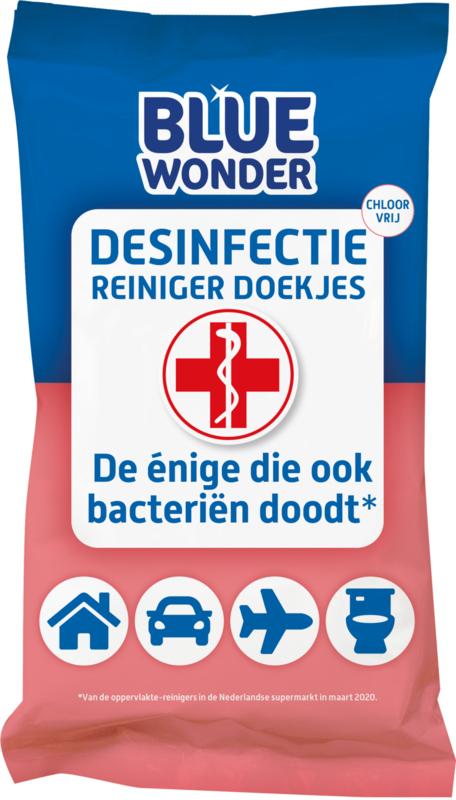 Blue Wonder Desinfectie-reiniger WC/Reis Doekjes Voordeelverpakking - 12x 20 stuks