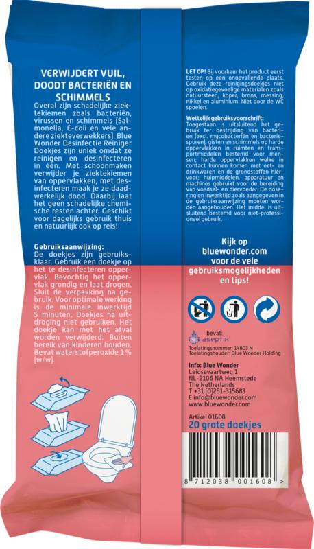 Blue Wonder Desinfectie Reiniger Doekjes - 20 stuks
