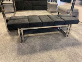 Luxury living bench portofino  Stainless steel - black velvet