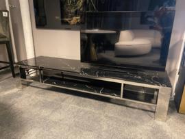 Luxury living Tv Dresser Vernazza faux black marble - stainless steel