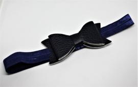 Haarband met leren strik donkerblauw