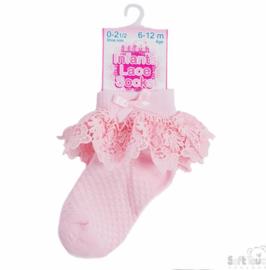 Babysokje Soft Touch roze met luxe kant
