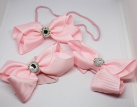 Setje haarband met footflowers roze