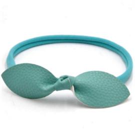 Haarband met leren strik mintgroen