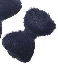 Strikje bont  op clip donkerblauw