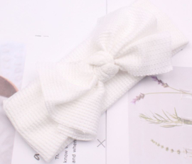 Haarband wafel structuur geknoopt wit