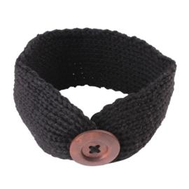Haarband gebreid met houten knoop zwart