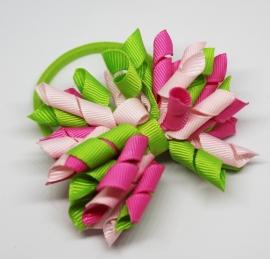 Haarelastiek Isa groen/roze/fuchsia