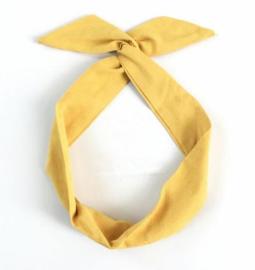 Knoophaarband suede geel