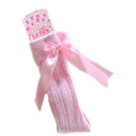 Kniekous roze met strik