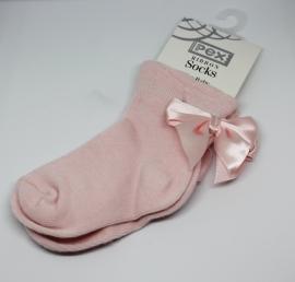 Babysok met satijnen strik roze
