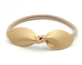 Haarband met strik leer goud