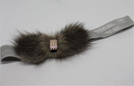 Haarband met bont strik grijs