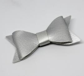 Strik leer 7cm zilver