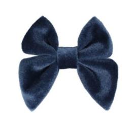 Strik fluweel Marjet klein 7cm grijs blauw