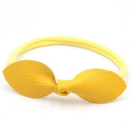 Haarband met leren strik geel