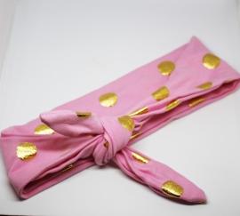 Knoop haarband stip goud roze