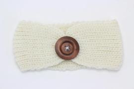 Haarband gebreid met houten knoop offwhite