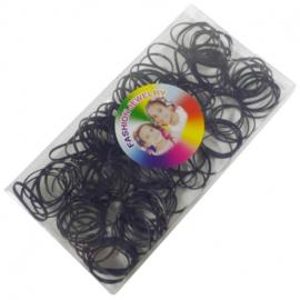Doosje met 150 stuks rasta elastiek zwart