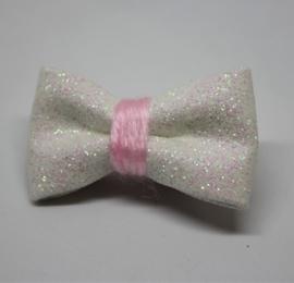 Strik mini glitter offwhite/roze