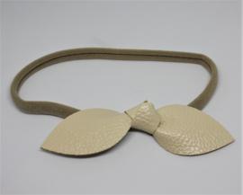 Haarband met strik leer beige
