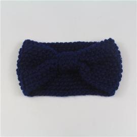 Haarband gehaakt donkerblauw