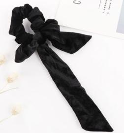 Scrunchie fluweel met strik zwart