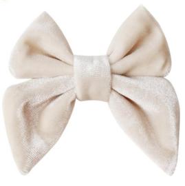 Strik fluweel Marjet klein 7cm beige