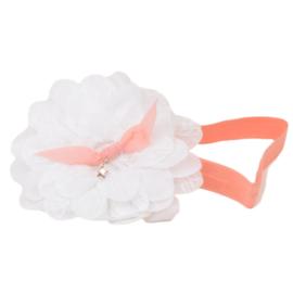 Haarband Mirjam wit / koraal