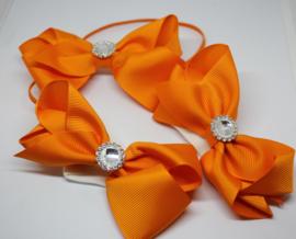 Setje haarband met footflowers oranje