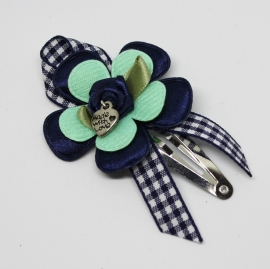Luxe knip Anna donkerblauw/mintgroen