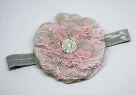 Haarband Janne grijs/roze