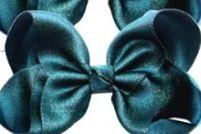 Luxe grote strik op clip blauwgroen