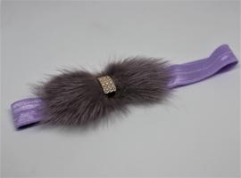 Haarband met bont strik lila/grijs