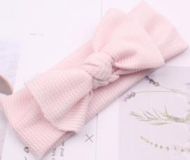 Haarband wafel structuur geknoopt roze