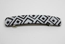 Haarknip zwart/wit geblokt