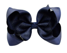Luxe grote strik op clip donkerblauw