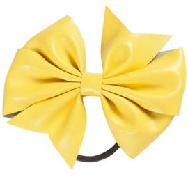 Strik leer op elastiek geel
