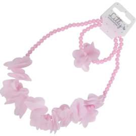 Kindersetje ketting met armband parel en bloem roze