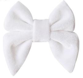 Strik fluweel Marjet klein 7cm wit