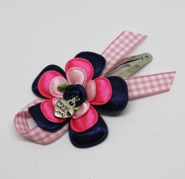 Luxe knip Anna donkerblauw/roze