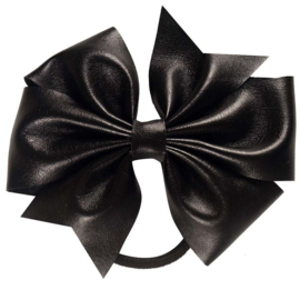 Strik leer op elastiek zwart