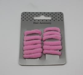 Set badstof elastiekjes roze