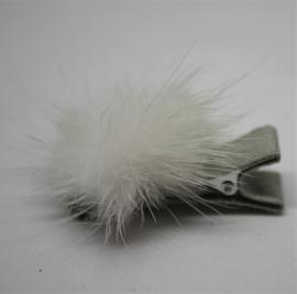 Clip mini met pompom offwhite/grijs