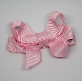 Haarclip dubbele strik klein roze