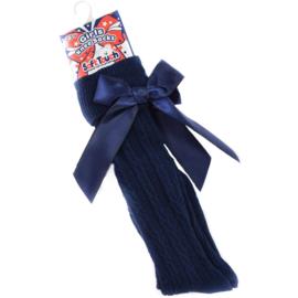 Kniekous donkerblauw met strik