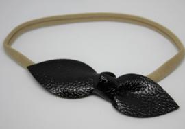 Haarband met strik leer zwart