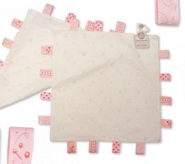 Labeldoekje 35x35 roze/wit